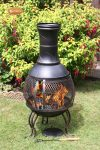 - Pot belly steel chimenea with central mesh part and cast iron legs