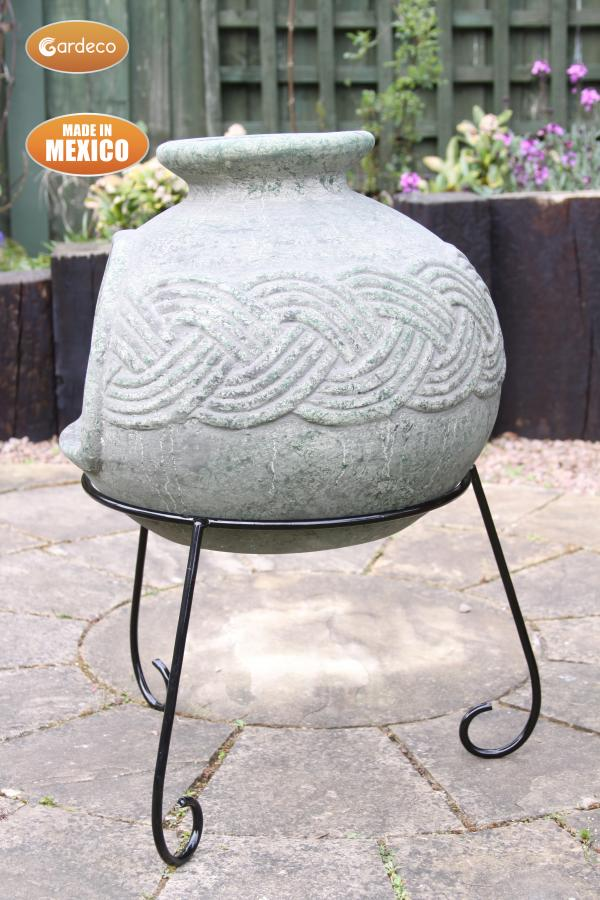 - Elfyn wide bellied Mexican chimenea Celtic theme including stand