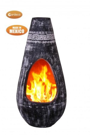 - Gota Chim-Art large with Azteca fries,original Mexican chimenea in charcoal grey