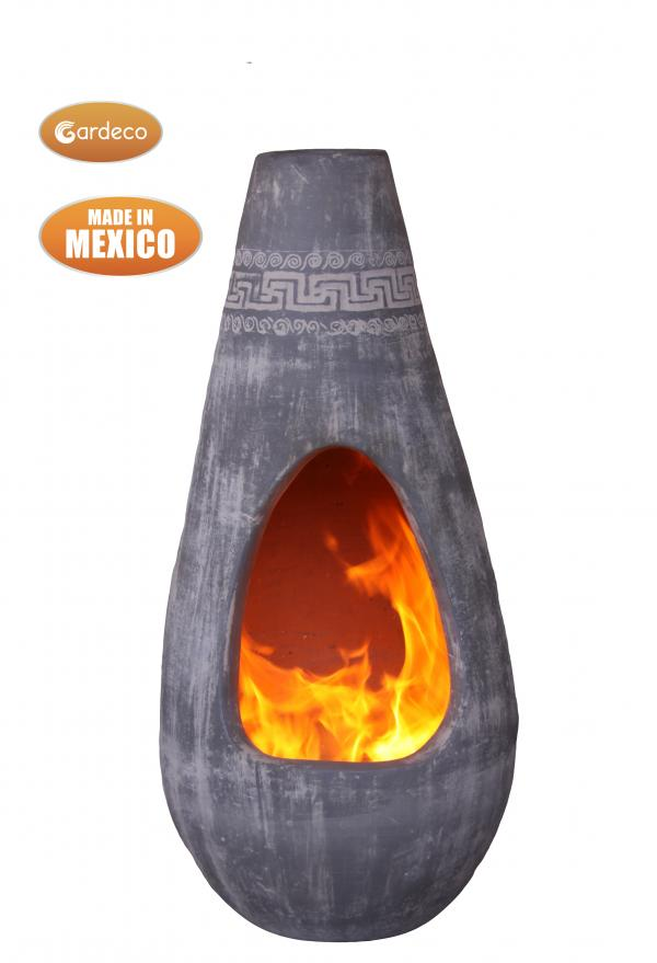 -Gota Chim-Art large with Azteca fries,original Mexican chimenea in light grey
