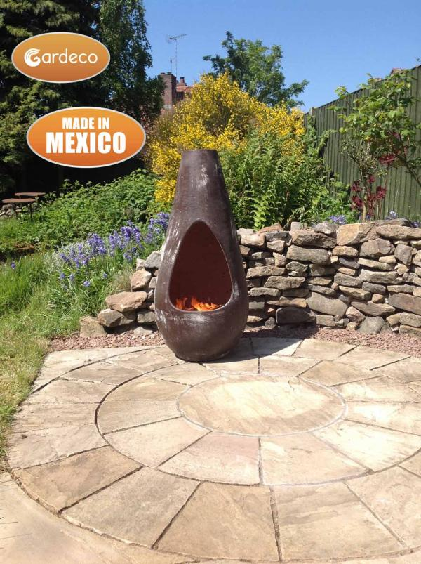 -Gota Chim-Art large,original Mexican chimenea in oxidised brown