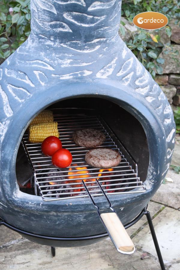 -Removable BBQ grill extra-large 24 cm wide x 71 cm long with balcony, stainless steel