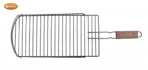 - Removable BBQ grill extra-large 24 cm wide x 71 cm long with balcony, stainless steel