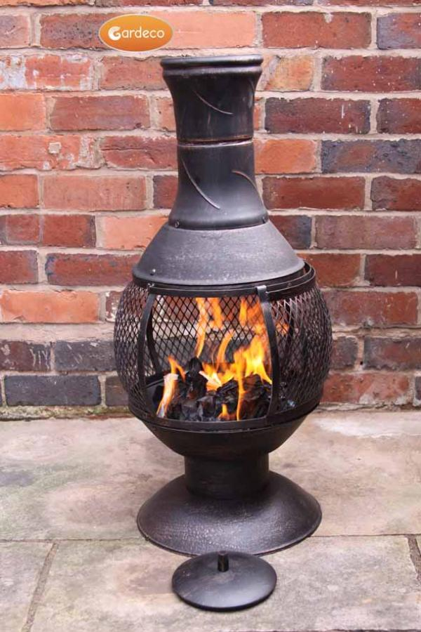 - Opera medium cast iron chimenea with mesh centre