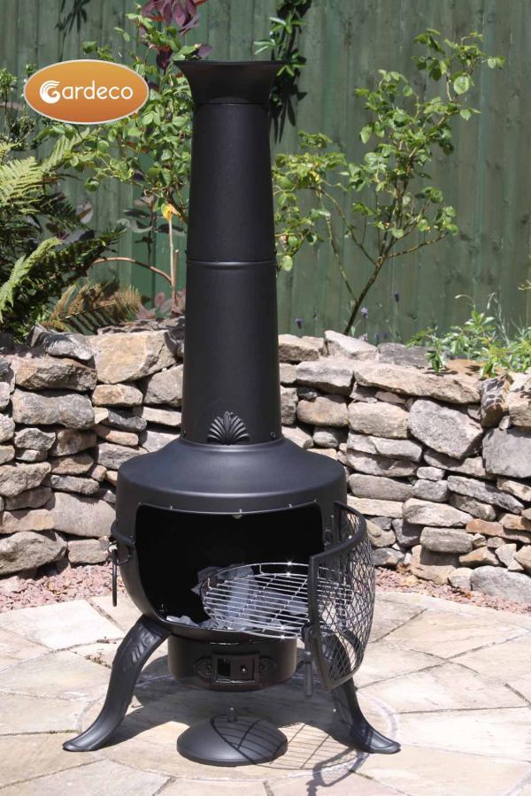 - Large Tia Chimenea in Black, inc BBQ grill