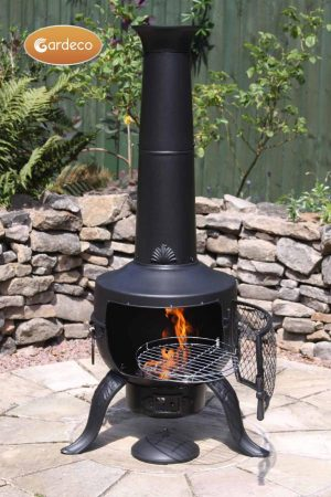 -Large Tia Chimenea in Black, inc BBQ grill