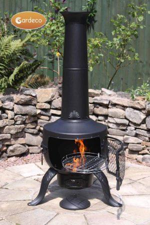 -Large Tia Chimenea in Black, inc BBQ grill