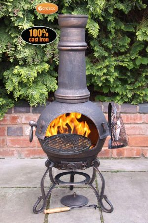 - Toledo Large Cast Iron Chimenea in Bronze,MAIL ORDER carton