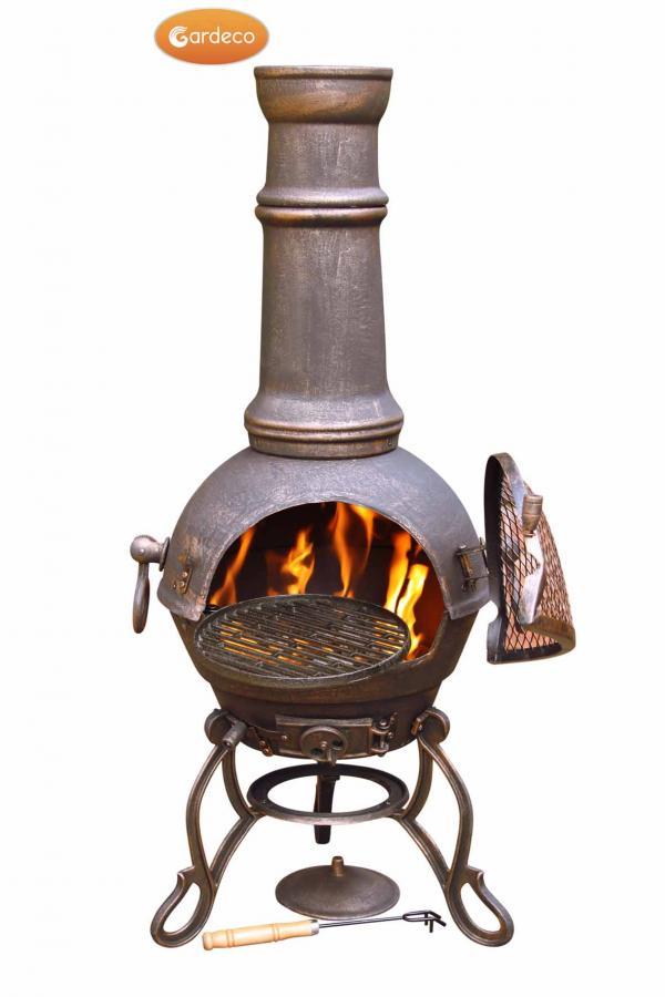 - Toledo Large Cast Iron Chimenea in Bronze,MAIL ORDER carton