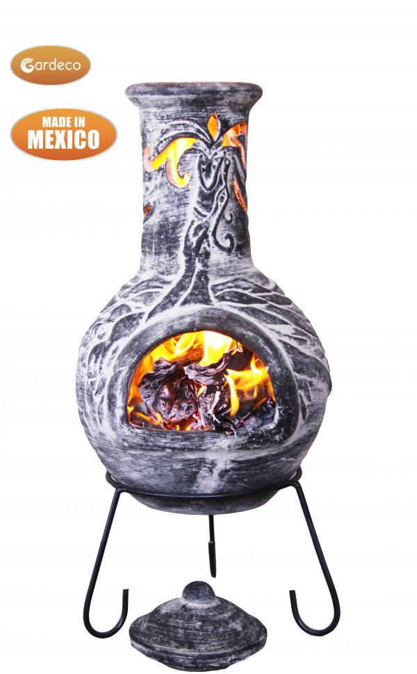 -Wyre EL Dragon chimenea with cut-outs to see flames charcoal colour inc stand and lid