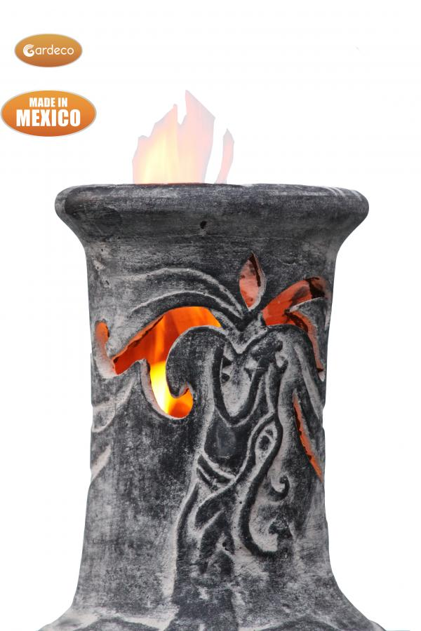 - Wyre EL Dragon chimenea with cut-outs to see flames charcoal colour inc stand and lid