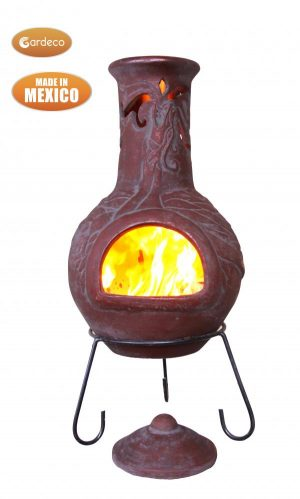 - Wyre EL Dragon chimenea with cut-outs to see flames burgundy colour inc stand and lid