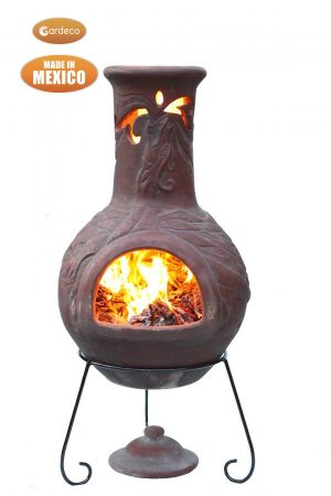 -Wyre EL Dragon chimenea with cut-outs to see flames burgundy colour inc stand and lid