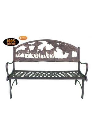 Cast Iron Bench with Horses and Tree