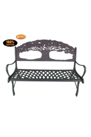 Cast Iron Bench with Tree