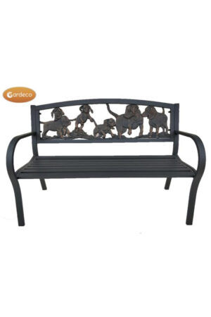 Steel Framed Cast Iron Bench with Puppies