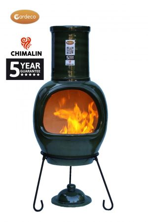 Extra-Large Asteria Glazed Green Clay Chimenea