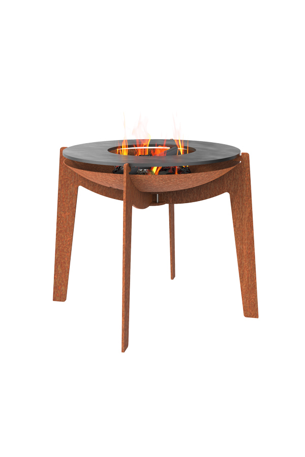 Adezz Corten Steel Fire Bowl on Legs with Baking Tray