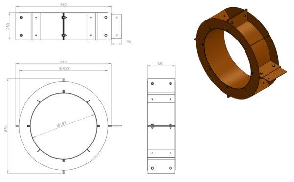 Adezz Forno Corten Steel Circle Wood Storage Unit