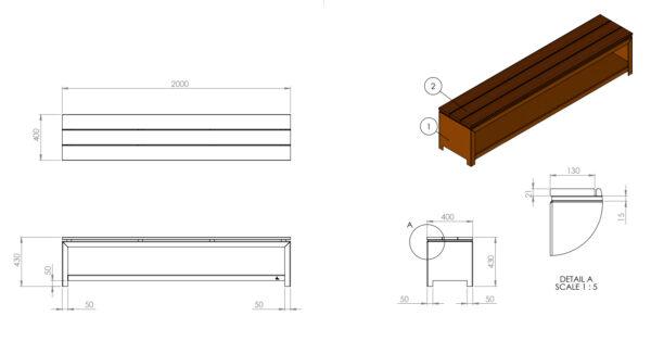 Adezz Forno Corten Steel Wood Storage Bench Blueprint