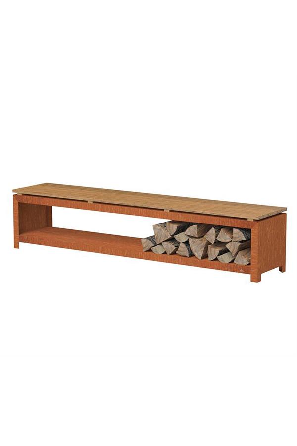 Adezz Forno Corten Steel Wood Storage Bench