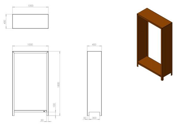 Adezz Forno Corten Steel Wood Storage Unit Blueprint