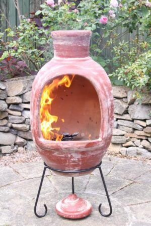 Red Egg shaped Mexican Chimenea