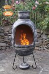 Egg shaped Charcoal Grey Mexican Clay Chimenea