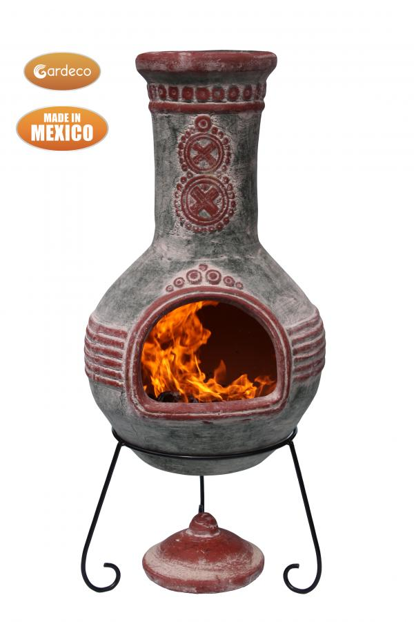 Azteca Extra Large Green & Red Mexican Chimenea