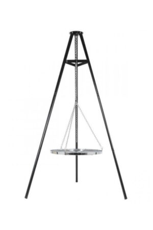 Self-Standing Tripod With Chromed BBQ Grill