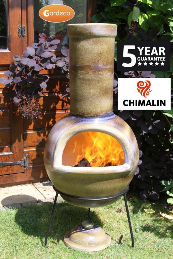 Sempra Large Chimalin AFC Glazed Matt Brown Clay Chimenea