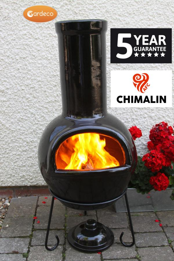 Sempra Large Chimalin AFC Glazed Black Clay Chimenea