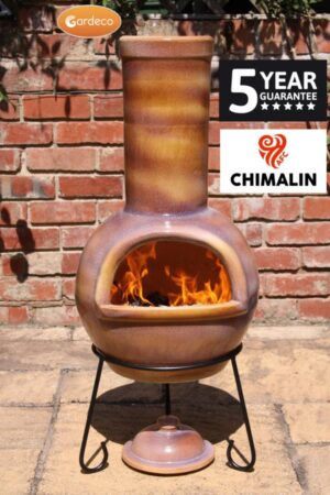 Sempra Large Chimalin AFC Glazed Caramel Clay Chimenea