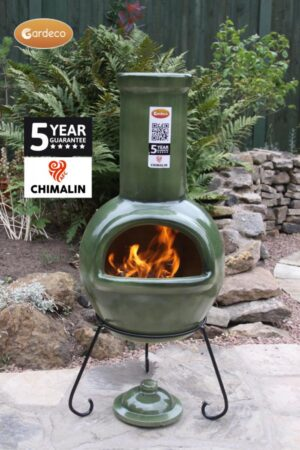 Sempra Large Chimalin AFC Glazed Green Clay Chimenea
